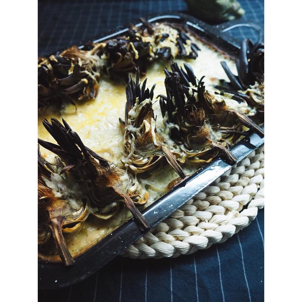 fondue de queso con alcachofas puredepalabras