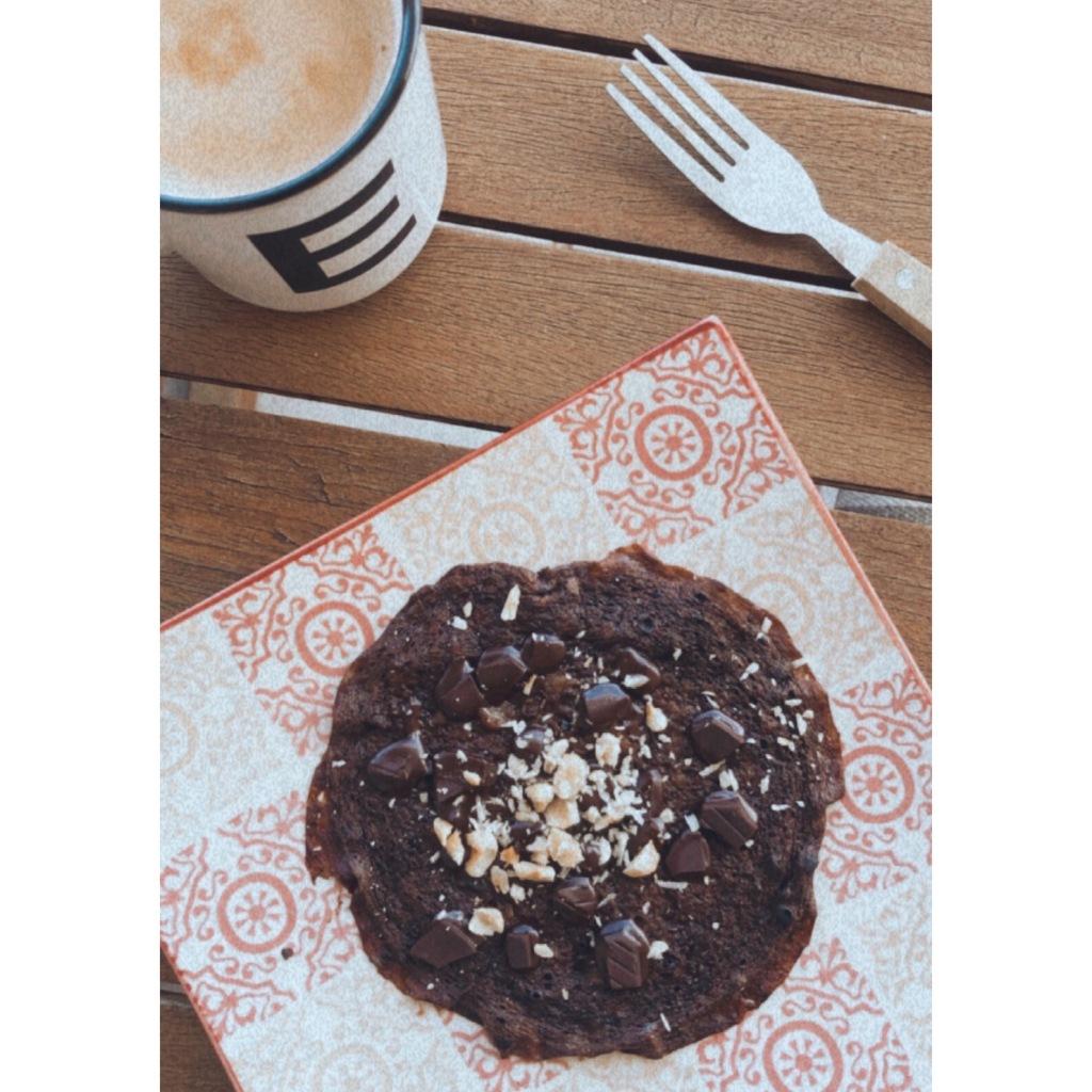 Crêpe de chocolate sin gluten / sin harina. Foto: @puredepalabras